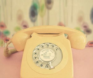 vintage, yellow, and phone image