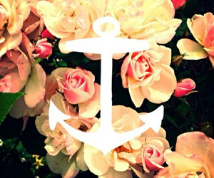 anchor, flowers, and wallpaper image