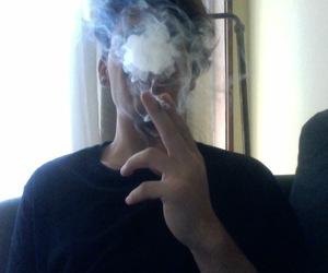 boy, cigarette, and dark image