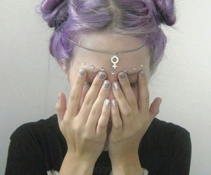 grunge, hair, and purple image