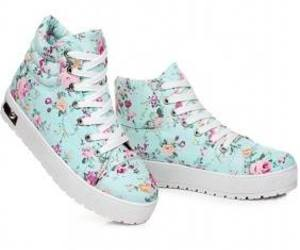 blue, floral, and sneakers image