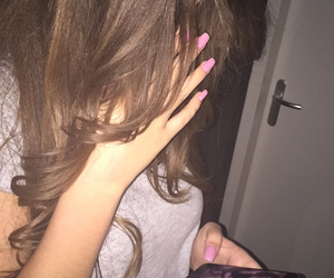 hair, nails, and girl image