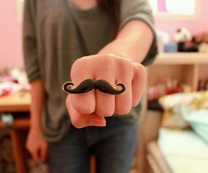 girl, mustache, and ring image