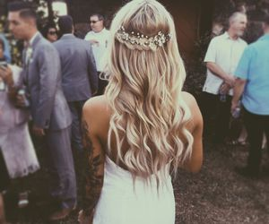 hair, dress, and wedding image