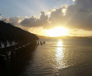 martinique, sea, and sunset image
