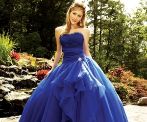 dress, ball gown, and blue image