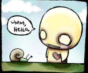 hello and snail image