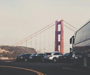 city, bridge, and car image