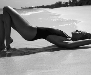 beach, black and white, and Victoria's Secret image