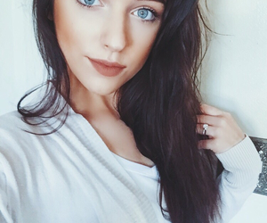 beauty, blue eyes, and brown hair image