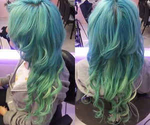 green, hair, and mermaid image