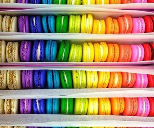 food, macaroons, and colors image