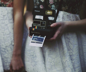 cameras, lace, and polaroid image