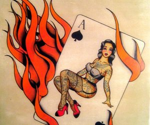 fire, rockabilly, and tattoo image