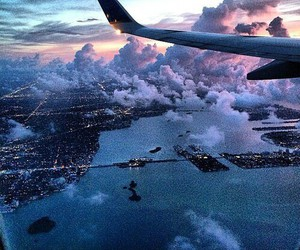 cities, clouds, and plane image