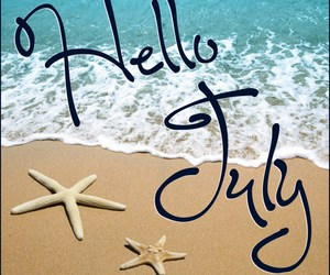 july, beach, and hello image