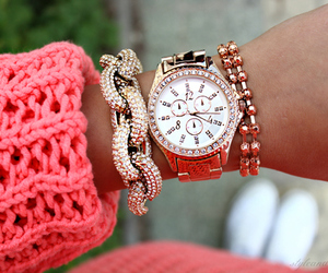 fashion, watch, and pink image