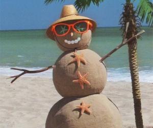 beach, summer, and snowman image