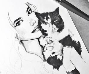 beauty, cat, and girl image