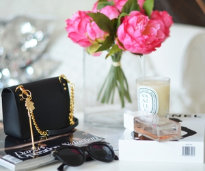 flowers, bag, and candle image