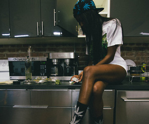 girl, weed, and kitchen image