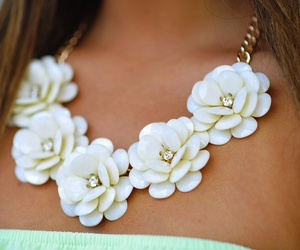 flowers, necklace, and white image