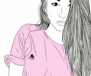 girl, pink, and drawing image