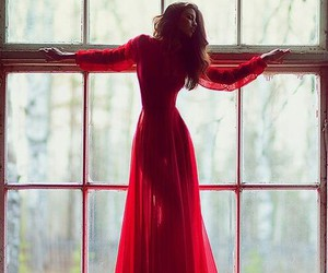 red, dress, and window image