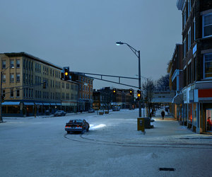 car, snow, and streets image