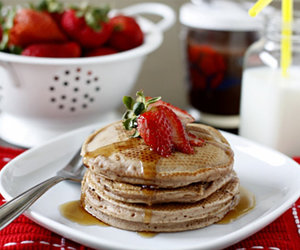 breakfast, pancakes, and strawberry image