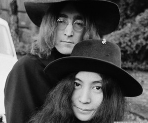 b&w, beatles, and Yoko Ono image