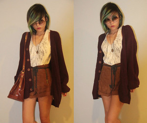 brown bag, brown hair, and fashion image
