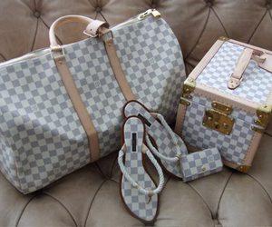 Louis Vuitton, bag, and sandals image