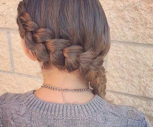 braid, brown hair, and hairstyle image