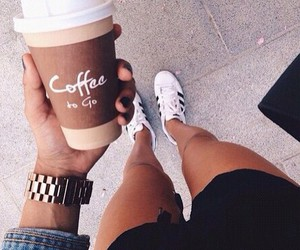 coffee, adidas, and drink image