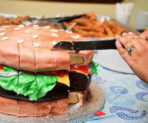 cake, food, and hamburger image