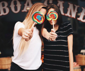 girl, friends, and candy image