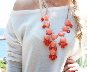 fashion, blonde, and necklace image