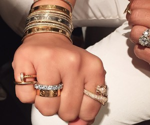 bracelets, gold, and rings image
