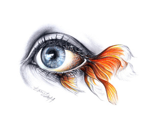 art, eyes, and gold fish image