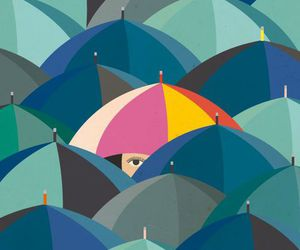 umbrella, girl, and rain image