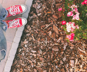 converse, flowers, and Hot image