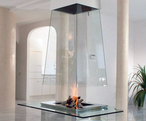 fireplace, glass, and fire image