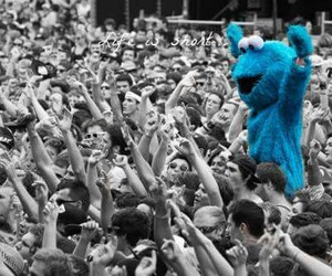 blue, cookie monster, and people image