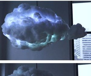 clouds, lamp, and lights image