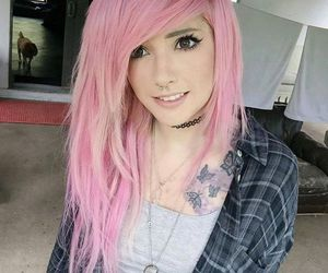 pink hair and tattoo image