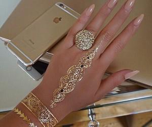 nails, gold, and henna image