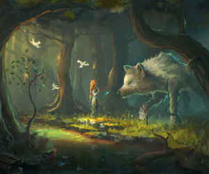 forest, art, and wolf image