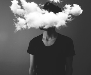 boy, black and white, and clouds image