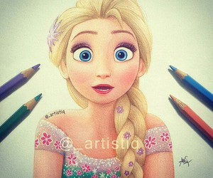 elsa, frozen, and drawing image